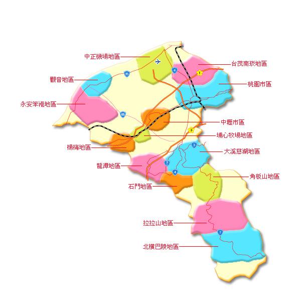 旅遊城市選擇 桃園分區圖