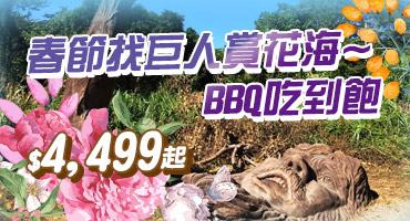 (主題旅遊)春節找巨人賞花海~BBQ吃到飽$4,499起